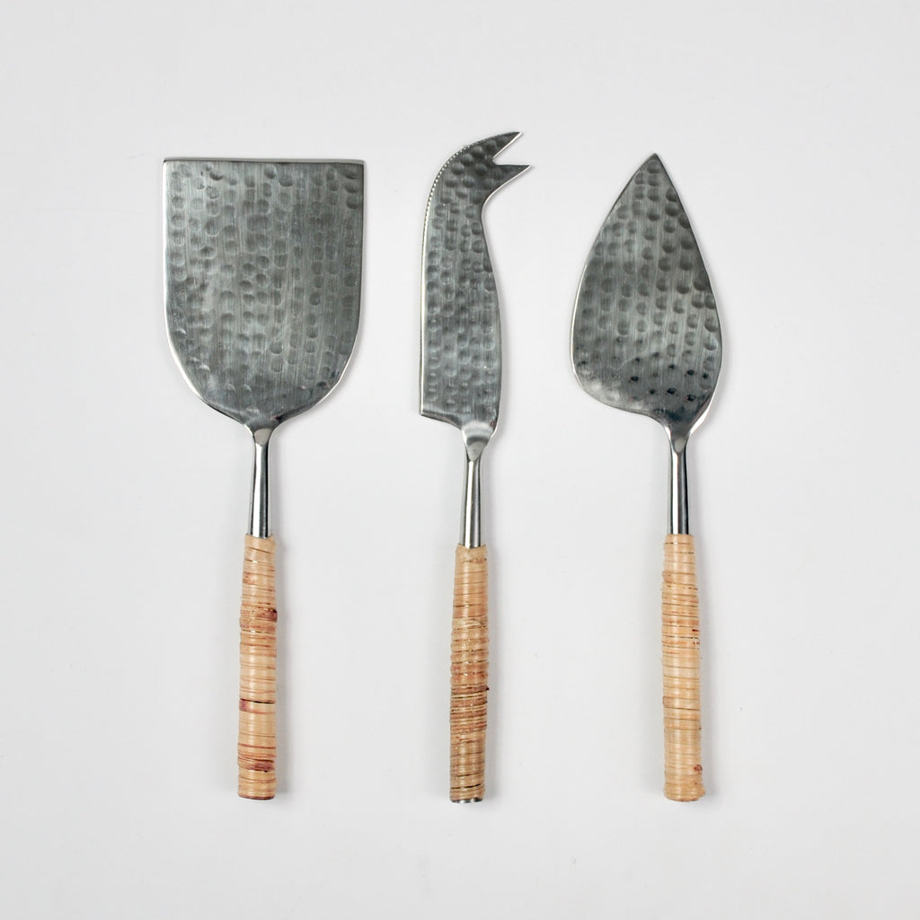 Rattan + Hammered Cheese Knives - Set of 3