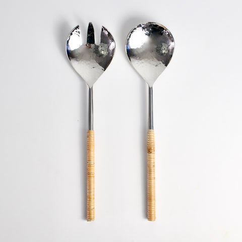 Rattan + Hammered Stainless Serving Set