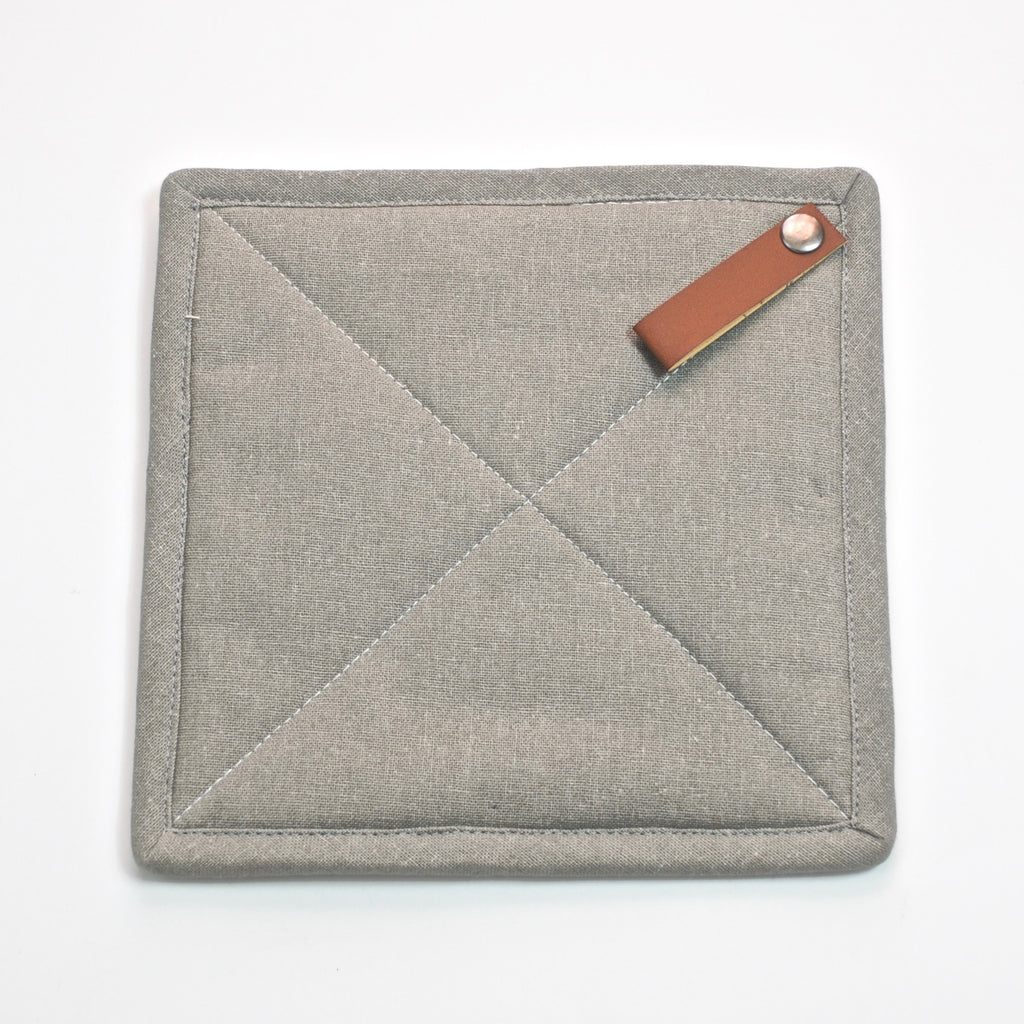 Square Pot Holder with Leather Loop