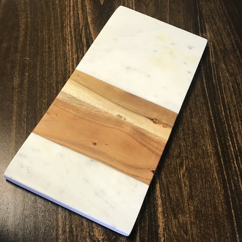 Serving Board - White Marble & Acacia - Rectangle-Accessories-SKORDO