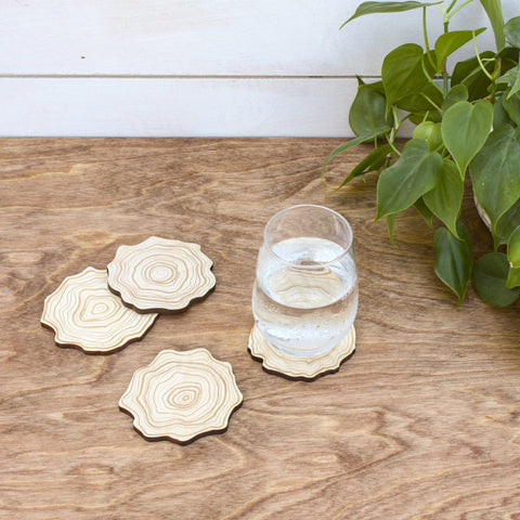 Wood Cross Cut Coasters - Set of 4