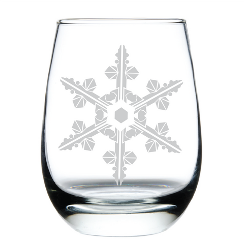 Geometric Snowflake - Stemless Wine Glass