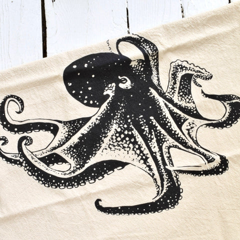 Octopus Tea Towel - Black