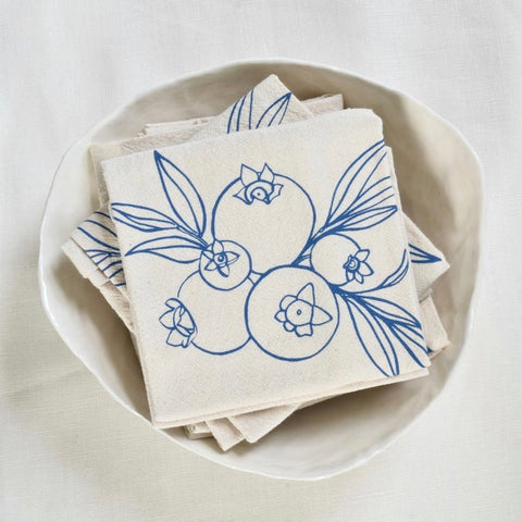 Wild Blueberry Blue Violet Tea Towel