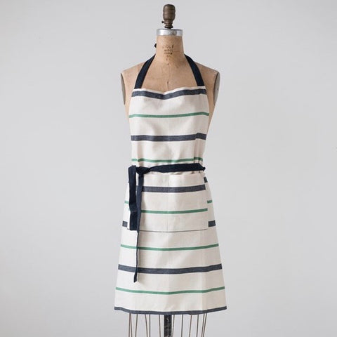 Apron - Black & Green Stripe