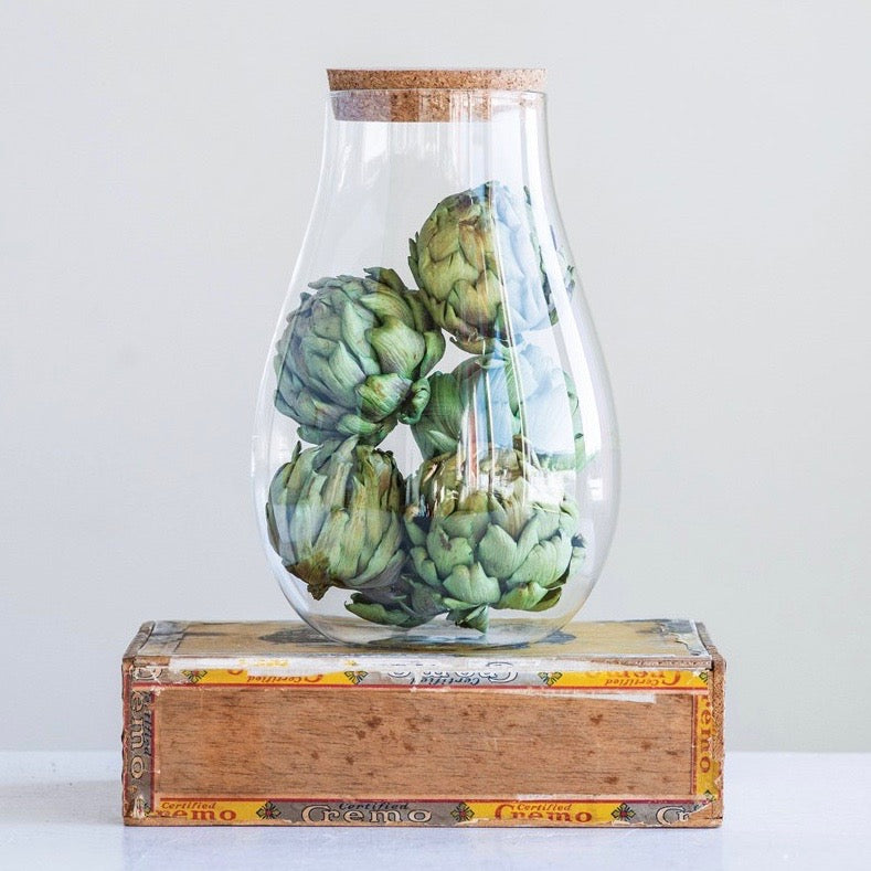 Glass Bulb Jar with Cork Lid - Large