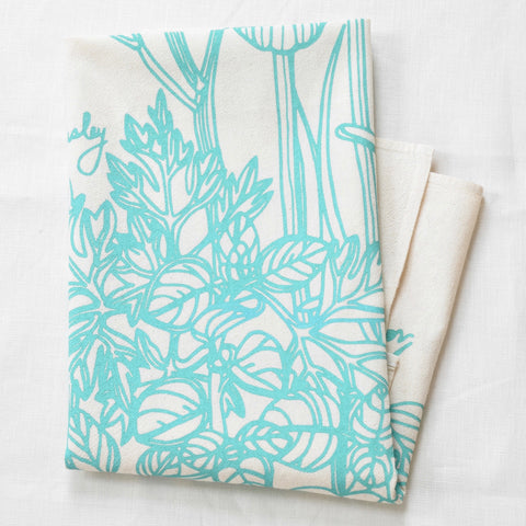 Mint Kitchen Herbs Tea Towel