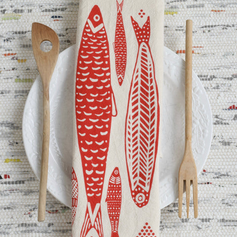 Sardines Tea Towel (Red)