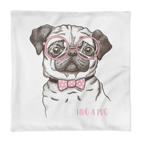 """Hug A Pug"" Square Pillow Case"
