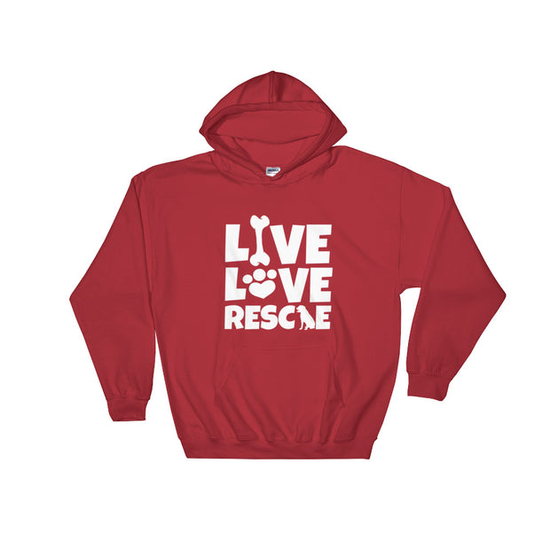 """Live, Love, Rescue"" Hooded Sweatshirt - Multiple Colors Available"