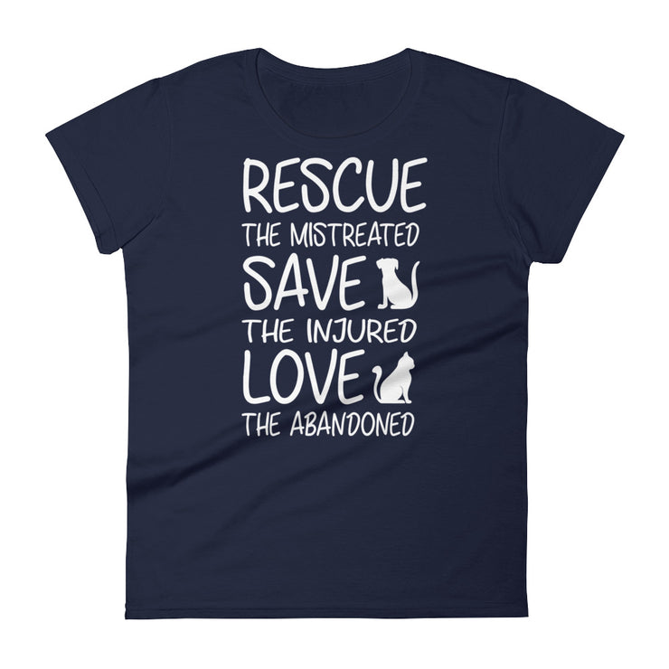 """Rescue The Mistreated"" Women's short sleeve t-shirt - Multiple Colors Available"