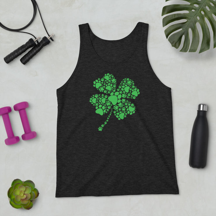 4 Leaf Clover with Paw Unisex Tank Top