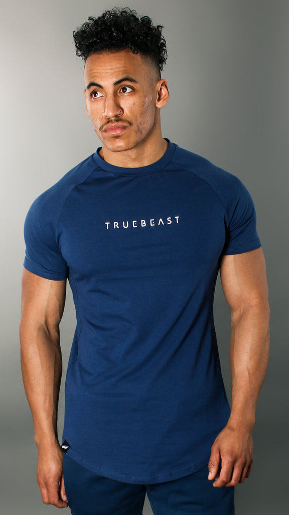 Rogue Muscle Fit T-shirt | Navy Blue and White – TrueBeast Athletics