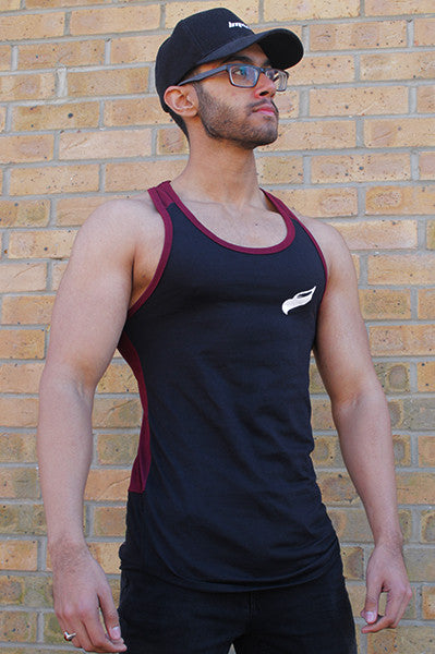 Classic Fitted Stringer Vest | Maroon & Black *VERY LIMITED STOCK*