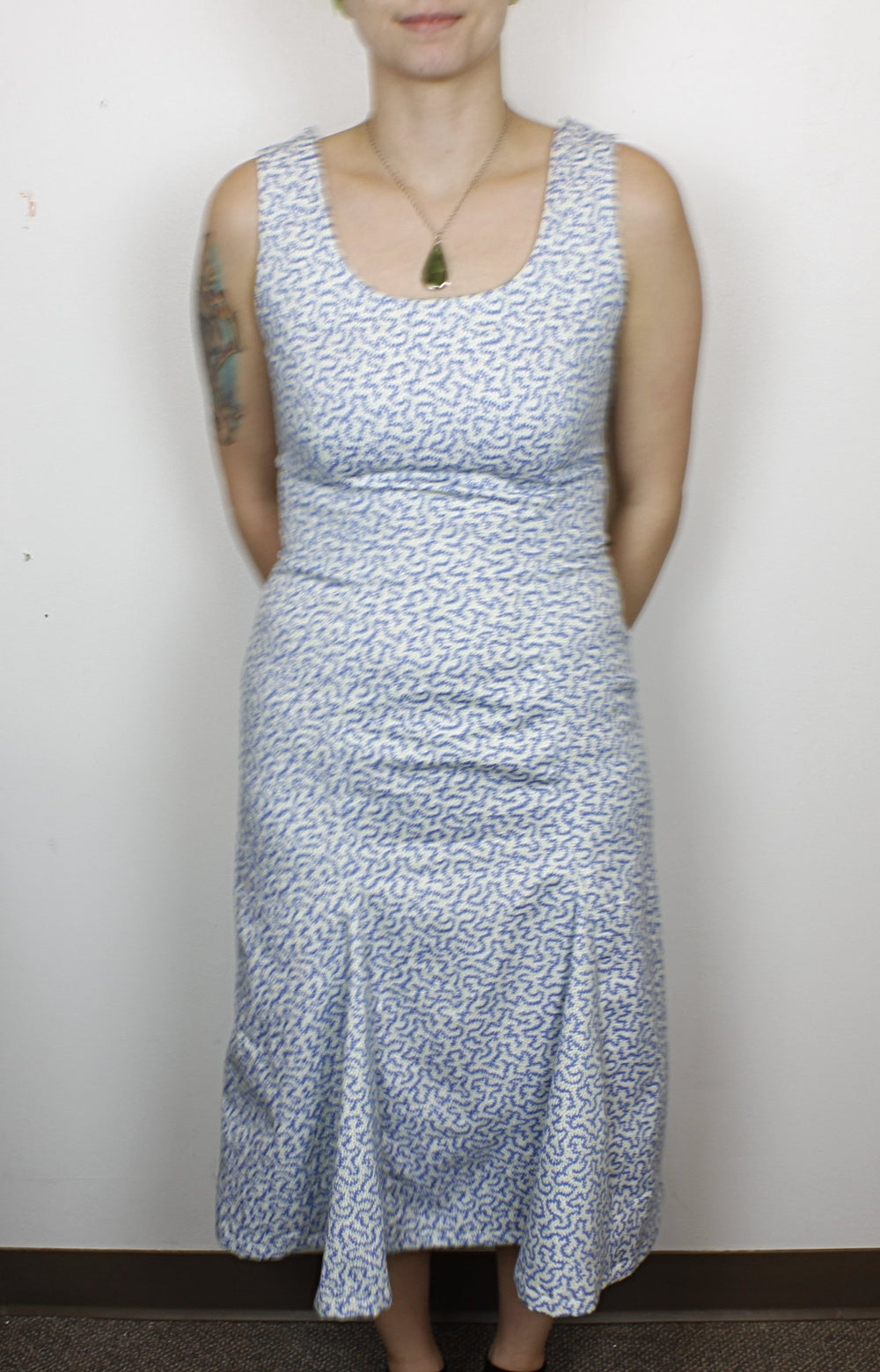 Blue and White Handmade Squiggle Dress