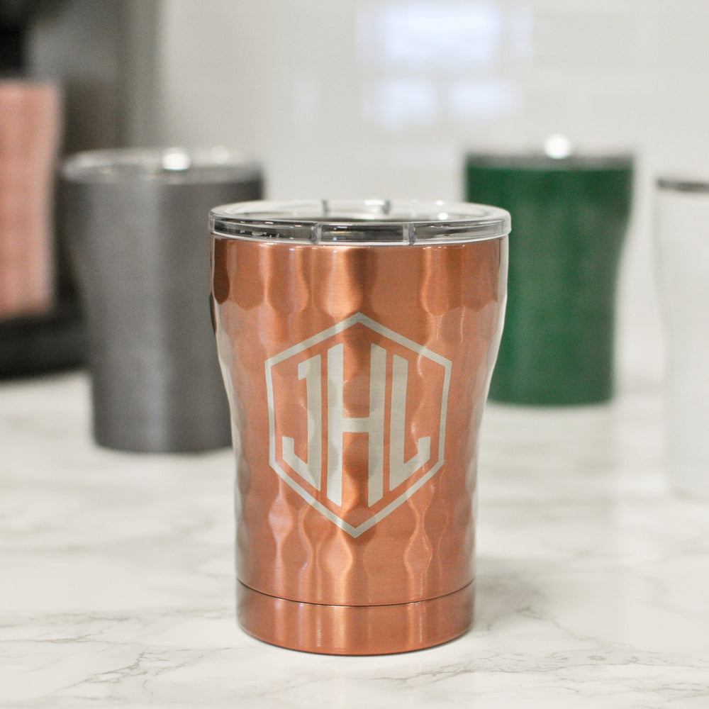 Hammered Engraved 12 oz Coffee Tumbler | Cocktail Golfing Tumbler - Intricut Creations