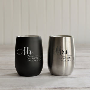 Engraved Stainless Wine Tumblers | Anniversary Wedding Cups - Intricut Creations