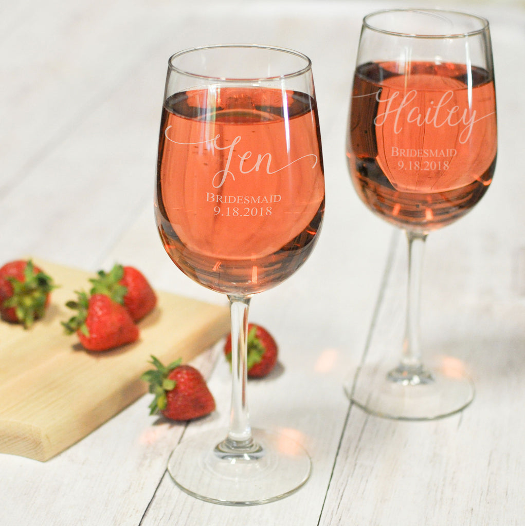 Engraved Bridesmaid Wine Glass | Stemmed Wine Glasses - Intricut Creations