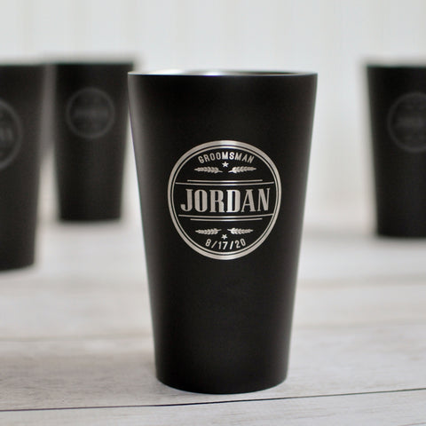 Matte Black Engraved Pint Glass | Groomsman Gift - Intricut Creations