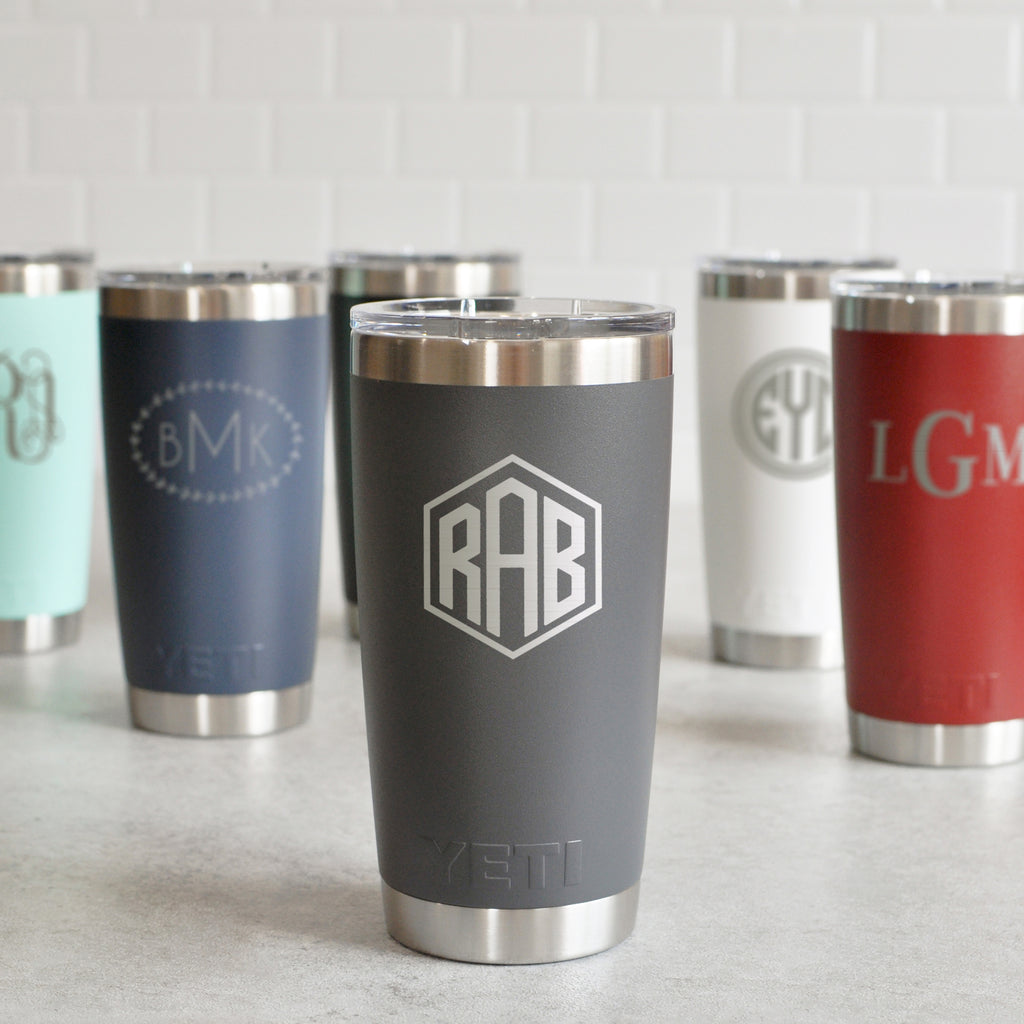 Monogrammed Yeti Rambler 20 oz | Personalized Tumbler - Intricut Creations