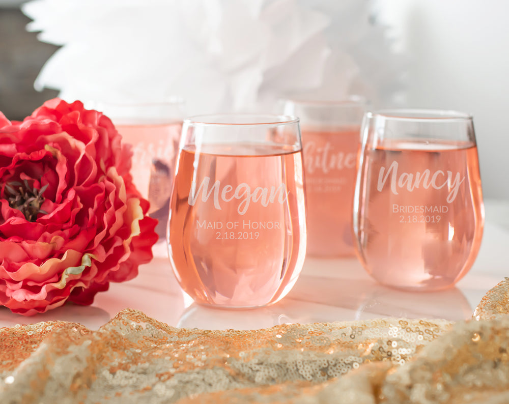 Bridesmaid Stemless Wine Glass | Wedding Party Wine Glasses - Intricut Creations