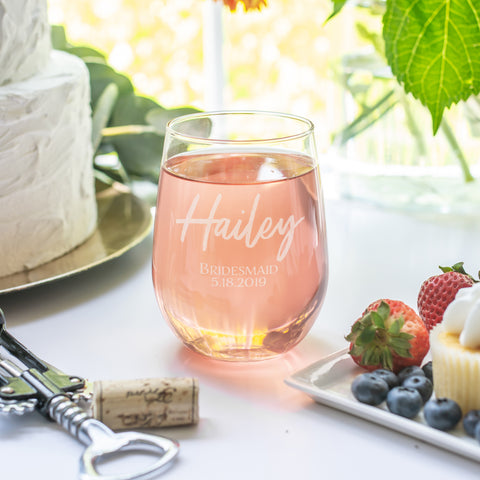 Bridesmaid Stemless Wine Glass - Intricut Creations