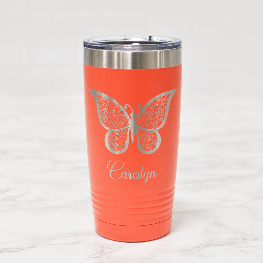 Engraved Butterfly Tumbler | Gift for Teen