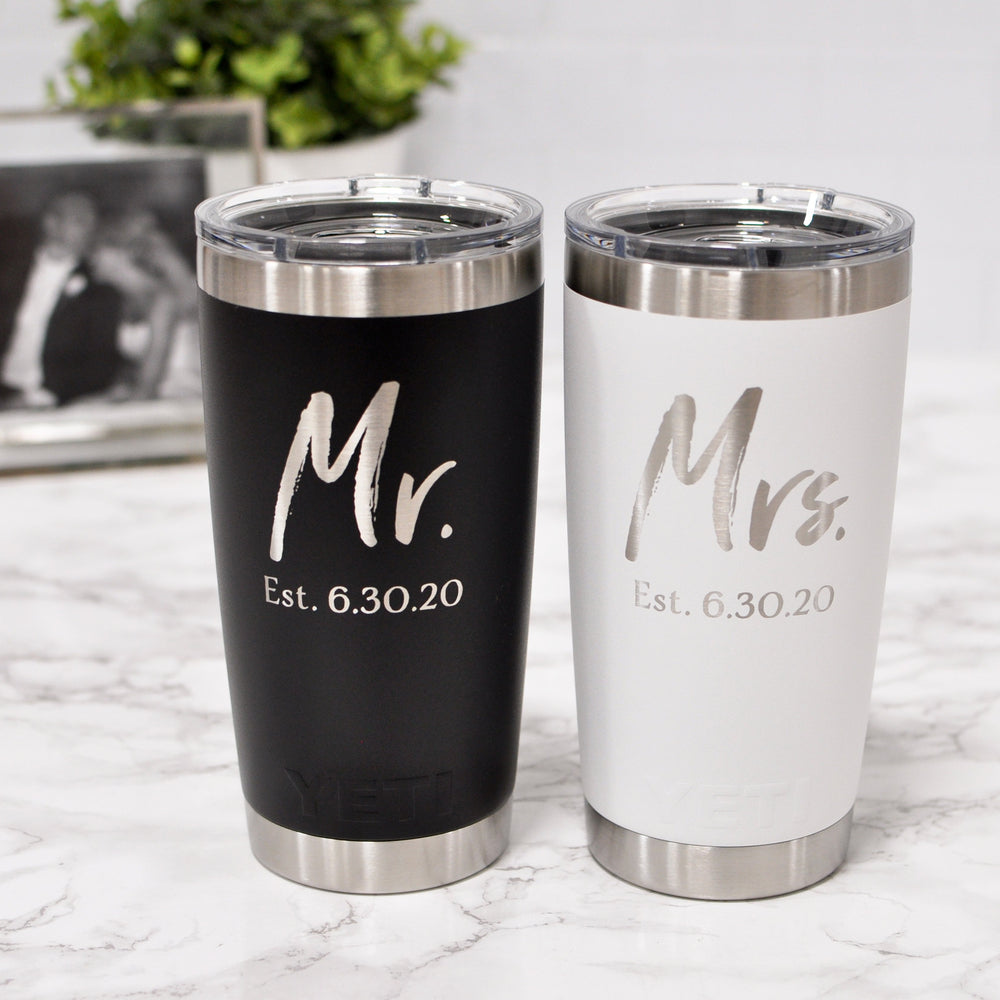 Engraved Personalized Wedding Yeti | Mr and Mrs Tumbler