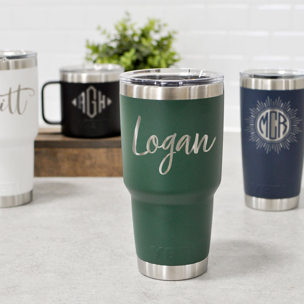engraved yeti tumblers and coffee mug