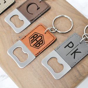 engraved leatherette keychain bottle openers