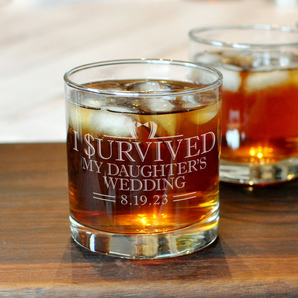 I Survived Rocks Glass | Custom Whiskey Glass