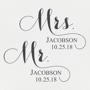 Engraved Wedding Date Wine Glasses | Mr. and Mrs. Glasses - Intricut Creations