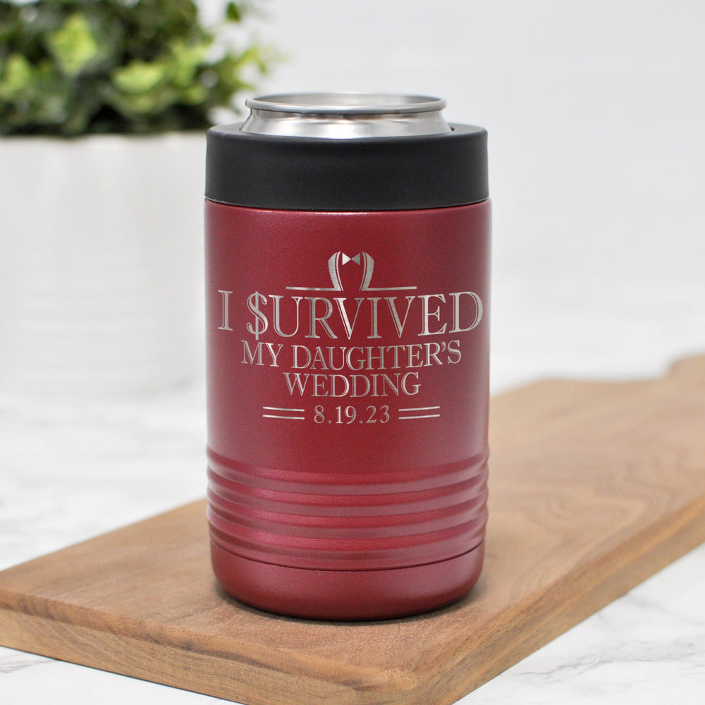 I Survived My Daughter's Wedding Can Holder | Father of the Bride Gift