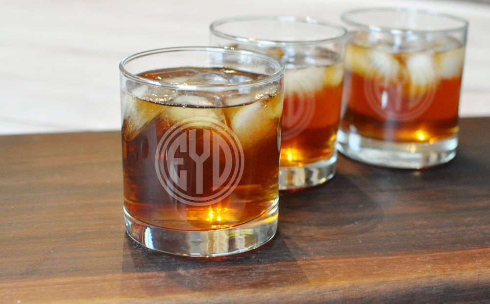 Monogram Engraved Rocks Glasses | Gifts for Him - Intricut Creations