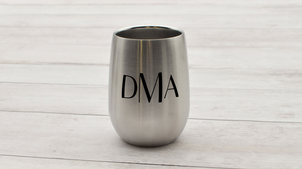 Monogrammed Stainless Wine Tumbler | Bridesmaid Gift - Intricut Creations