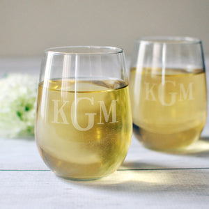 Classic Monogram Stemless Wine Glasses | Monogram Gift for Her - Intricut Creations