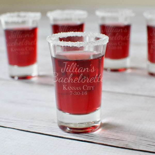 Bachelorette Party Engraved Shot Glass - Intricut Creations