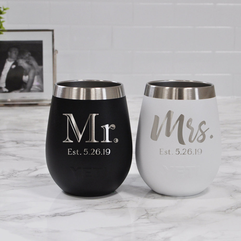 Mr and Mrs Yeti Wine Tumbler | Engagement Gift - Intricut Creations