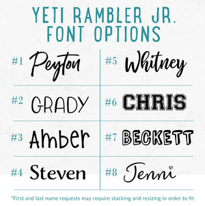 Laser Engraved YETI Rambler Jr | 12 oz YETI Kids Bottle - Intricut Creations