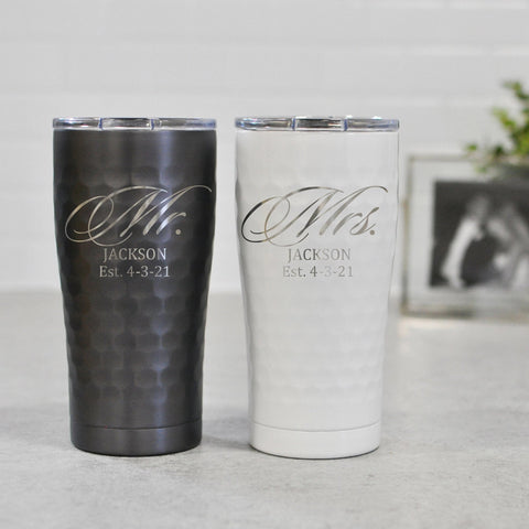 Engraved Mr and Mrs SIC Tumbler | Wedding Honeymoon Cup - Intricut Creations