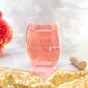 Bachelorette Party Wine Glass | Engraved Party Favor - Intricut Creations