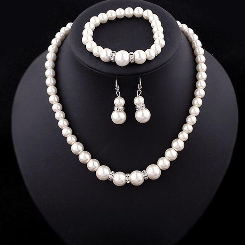 Simulated Pearl Necklace Bracelet Earrings Set Buzzed Turtle