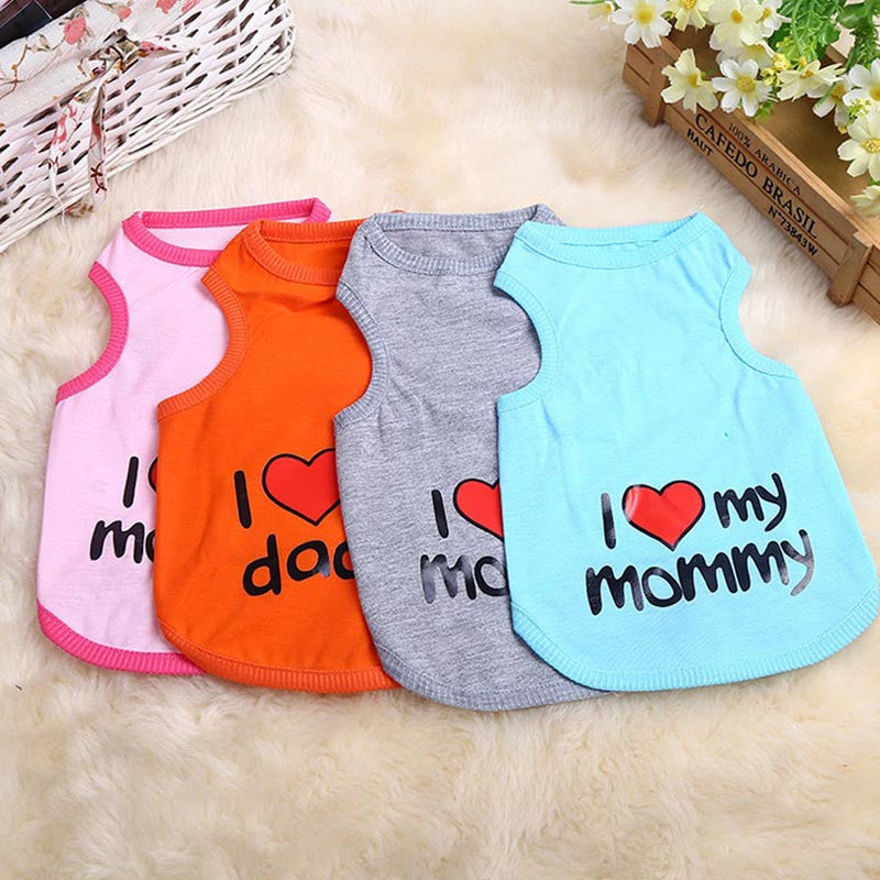 I Love my Mommy Pet Cotton T-Shirt - ensomart