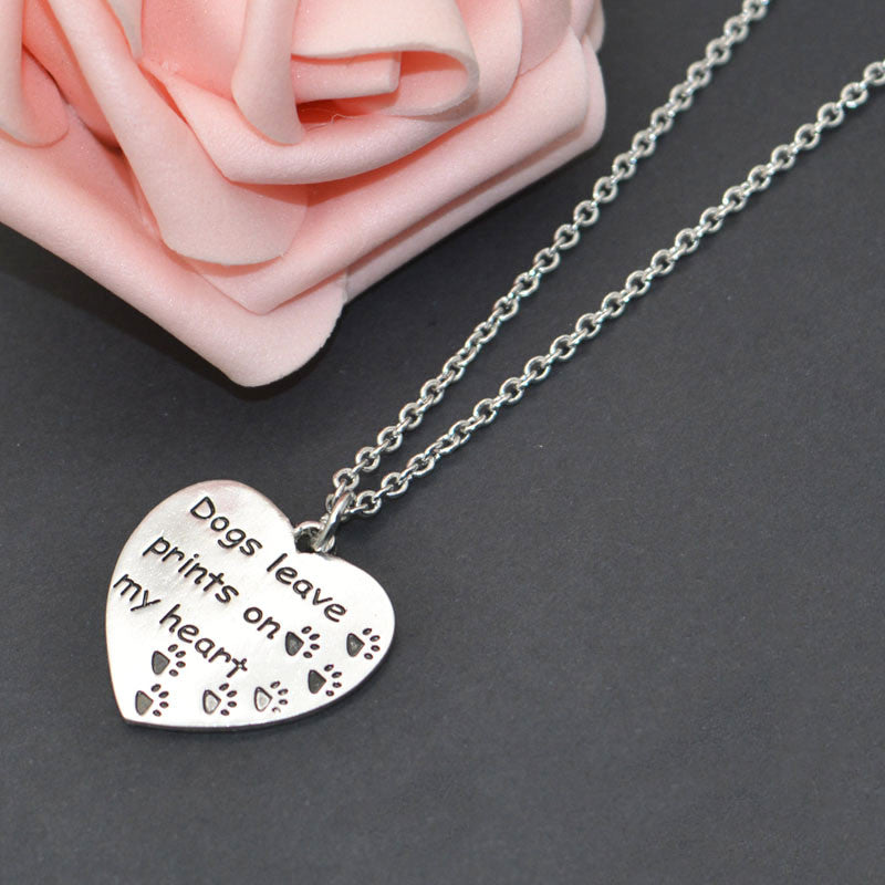 """Dogs Leave Prints On My Heart"" Pet Memorial Necklace - ensomart"