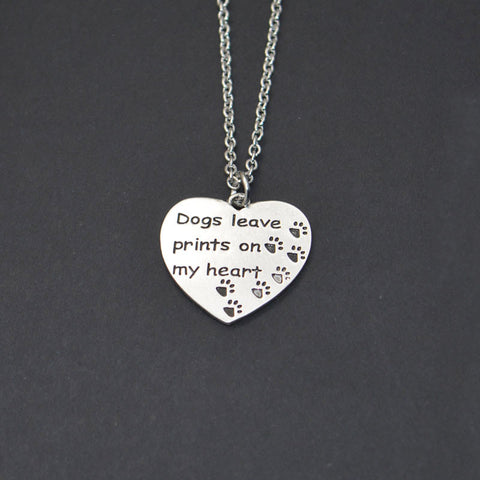 """Dogs Leave Prints On My Heart"" Pet Memorial Necklace"