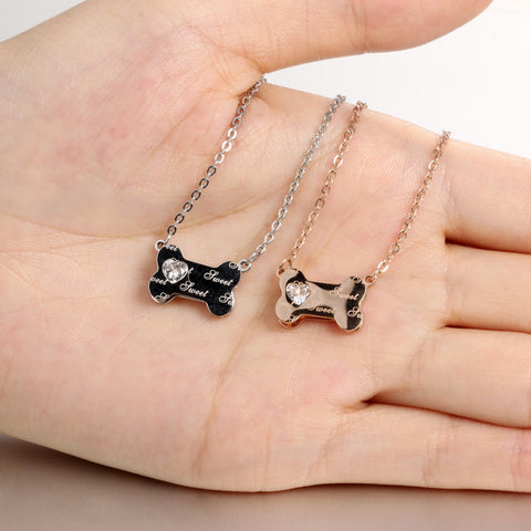 Cute Dog Bone Pendant Charm Necklace - ensomart
