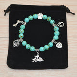 """I Love My Dog"" Light Blue Turquoise Bead Elastic Rope Bracelet - ensomart"