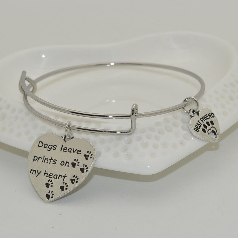 """Dogs Leave Prints On My Heart"" Pet Memorial Bracelet - ensomart"