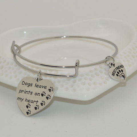 """Dogs Leave Prints On My Heart"" Pet Memorial Bracelet"