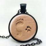 Paw Print and Footprint Pendant
